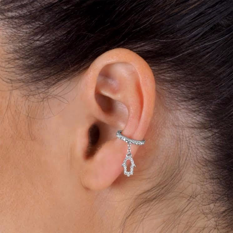 Hamsa diamonds helix ear cuff