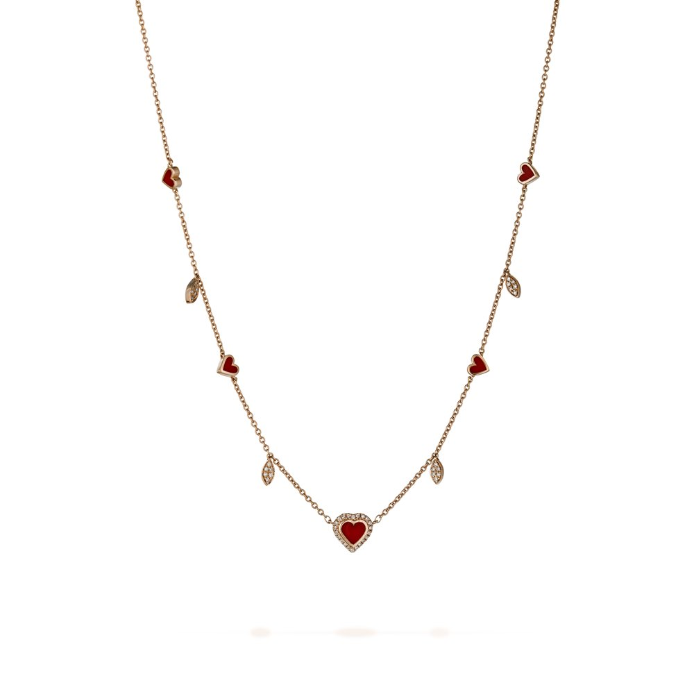 Red hearts and diamonds necklace