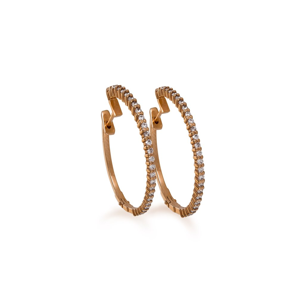 Medium diamonds hoops earrings