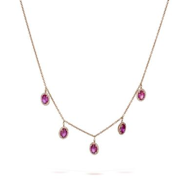 Pink ruby drops necklace